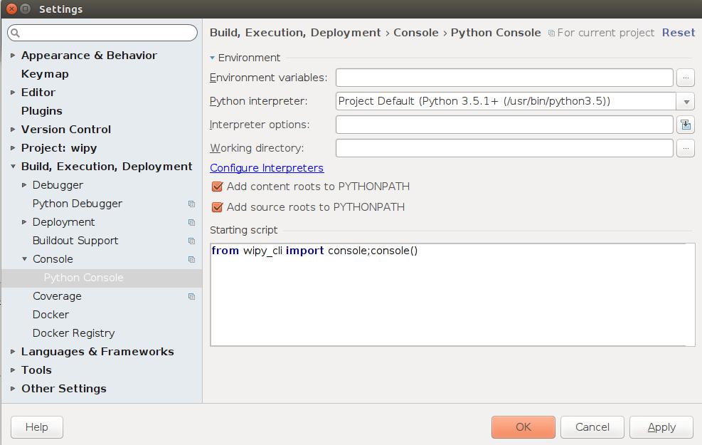 PyCharm Configuration for the WiPy — wipy_tools 0 0 0 documentation
